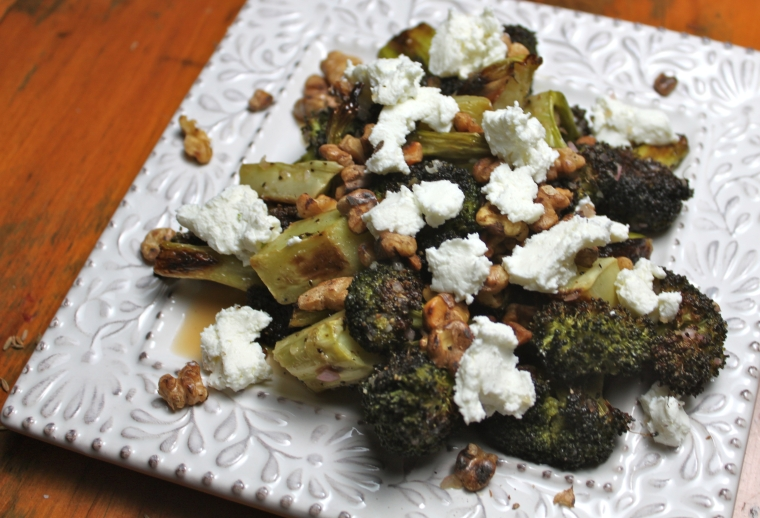 Brocoli with walnuts and goat cheese